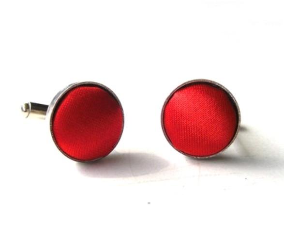 Manchetknoop zijde rood