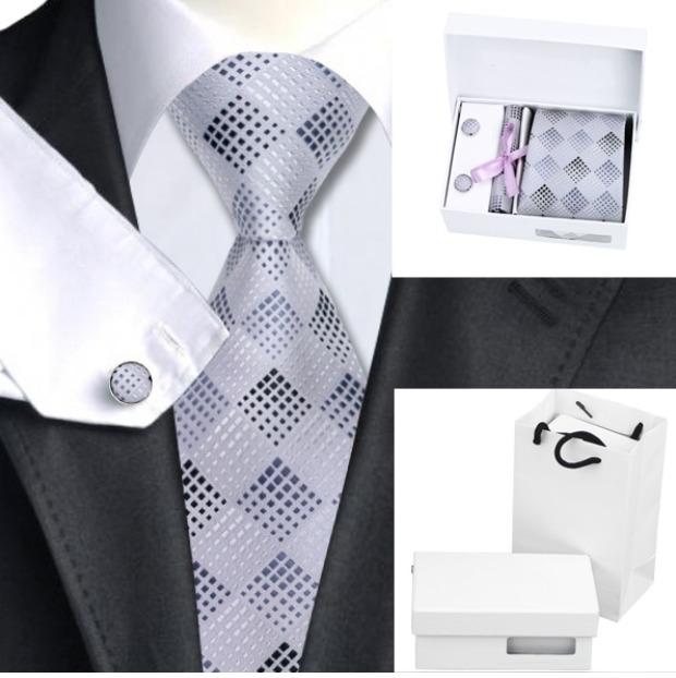 Stropdas set met manchetknopen en pochet Silver and Dark Greys
