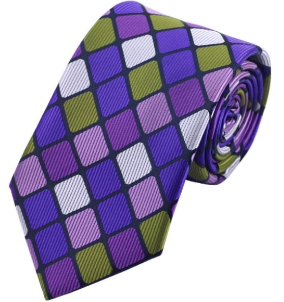 Stropdas Purple Grey Green