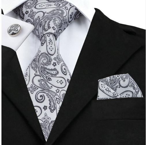 Stropdas Paisley silver grey met pochet en manchetknopen