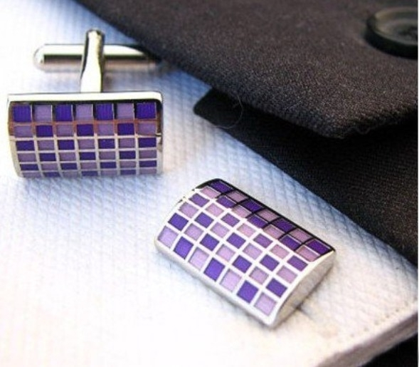 Manchetknoop rectangle with purple squares