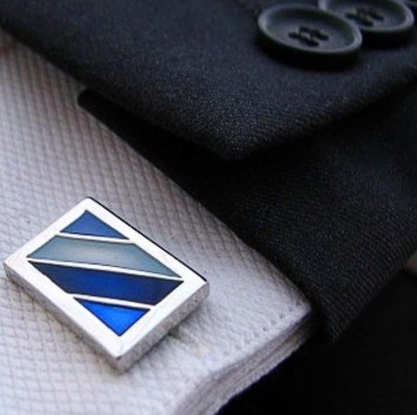 Manchetknoop rectangle blue dia stripe