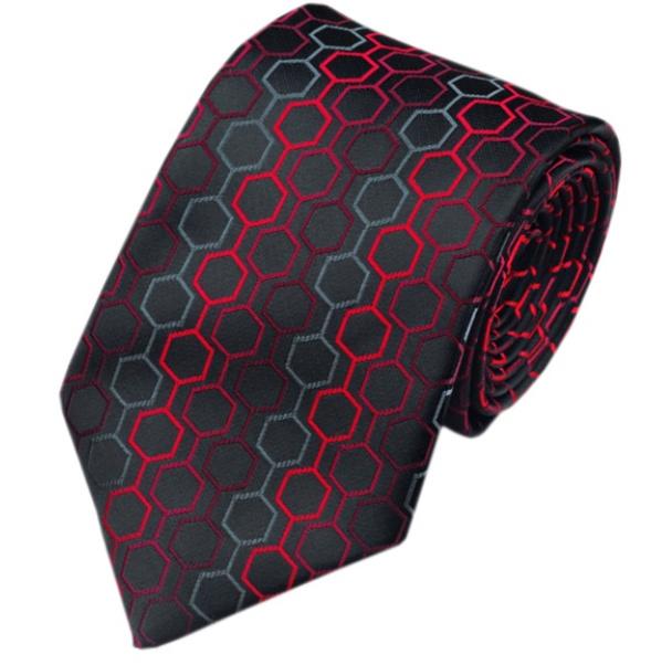 Luxe stropdas Black Grey Red Hexagon