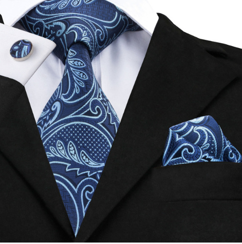 Stropdas set in Royal Blue Paisley dessin