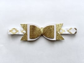 Gold & White bow haarband