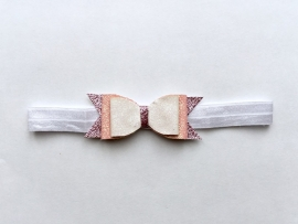 Pink, Purple & White bow haarband