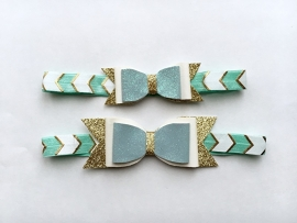 Blue & Gold bow haarband