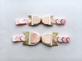 Pink & Gold bow haarband