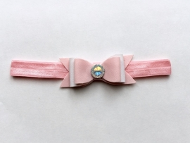 Pink & White bow haarband