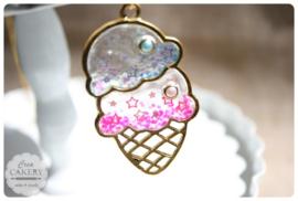 Resin ijsje blauw & roze