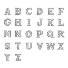 Letters zilver met strass