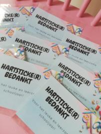 """""""HARTSTICKER bedankt"""" kaart"""