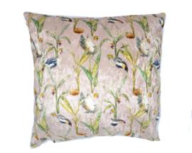 Velvet kussen crownde crane, kraanvogel roze 45 x 45 cm