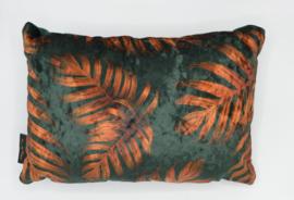 Kussen velvet jungle bladeren groen, bruin