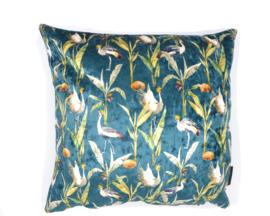 Velvet kussen crownde crane, kraanvogel petrol 45 x 45 cm