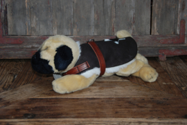 Warm Koesen echt leren hondenjas gevoerd met teddy/fleece