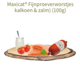 Maxicat fijnproefworstjes kalkoen en zalm 100 gr Reico