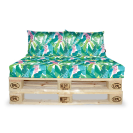 set palletkussens jungle groen bloemen, matras 120 x 80 cm met plofkussens. Verkrijgbaar in vele kleuren Waterbestendig | kleurstendig | schimmelwerend| vlekwerend / Sierkussens buiten tuin loungekussen / tuinmeubel kussen / apen/ jungle, palmbladeren
