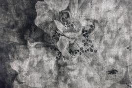 kussen velvet vintage bloemen grijs