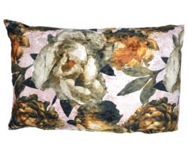 Velvet kussen antique rose, rozen print 40 x 60 cm