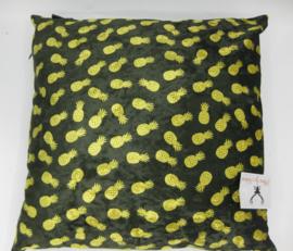 Kussen velvet ananas donkergroen geel