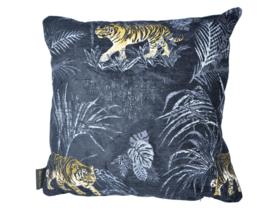 Woonkussen Tijgerhuid, tijgerstrepen, goud, zwart, en brons ingeweven, velvet kussen. Safari, dierenprint, tijger, olifant, giraffer, panter kussen