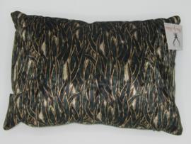 Kussen velvet seaweed grass groen goud zwart