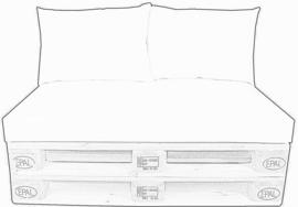 set palletkussens Mercis  Cancun , matras 120 x 80 cm met 2 plofkussens/strak rugkussen. Verkrijgbaar in vele kleuren Waterafstotend| kleurvast | vlekbestendig | schimmelwerend / buiten