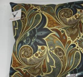 Kussen goud lurex paisley garden royal blue