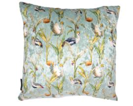 Velvet kussen crownde crane, kraanvogel lichtblauw 45 x 45 cm
