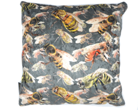 Velvet kussen honingbijen grijs 45 x 45 cm