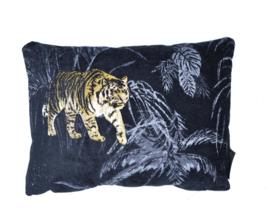 Woonkussen Bengaalse  tijger, goud, zwart, en brons ingeweven, velvet kussen. Safari, dierenprint, tijger, olifant, giraffer, panter kussen