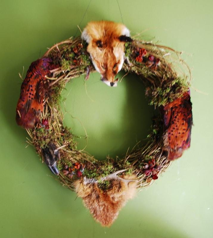 Wild krans met vossenkop, Fazant, wildzwijn, ree, damhert, konijn