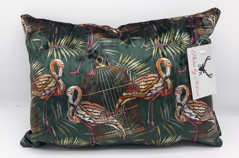 Velvet kussen geborduurde flamingo donkergroen