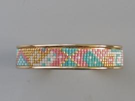 Geweven band op goudkleurig metalen armband