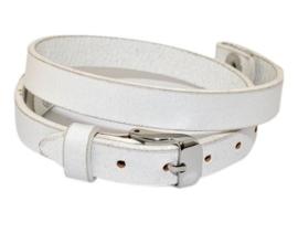 Wit leren armband voor Memorylocket