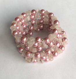 Wikkelarmband rozenkwarts