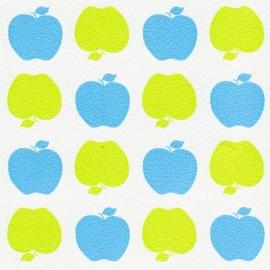 Behang Kinderkamer Appeltjes Blauw/Groen van Inke