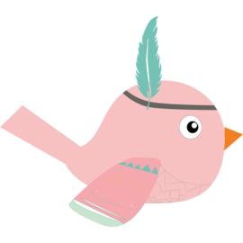 Muursticker Kinderkamer Indianen Vogel Roze