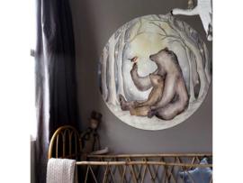 Beren en Roodborstje mini behangcirkel Hartendief