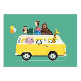 Poster Kinderkamer Volkswagen met Dieren Groen