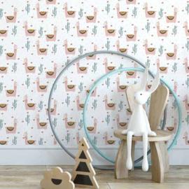 Behang Kinderkamer Lama Roze