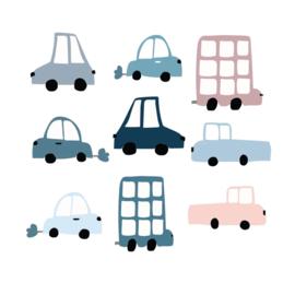 Muurstickers Kinderkamer Auto's Set van 9 stuks