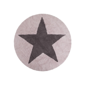 Vloerkleed Kinderkamer Reversible Round Star Grey-Pink