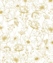 Behang Kinderkamer Botanical Flowers Gold