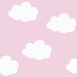 Behang Kinderkamer Wolken Roze van Inke