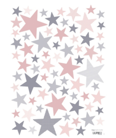 Muurstickers Kinderkamer Stars Pink and Grey Lilipinso