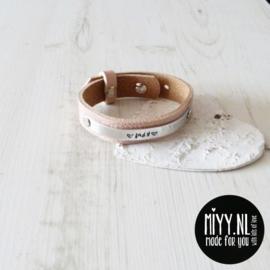 Armband Dames leer 'naam' (15mm)
