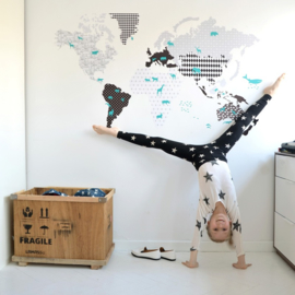 Muurstickers Kinderkamer World Map Black & White