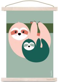 Poster Kinderkamer Luiaard Roze - Groen